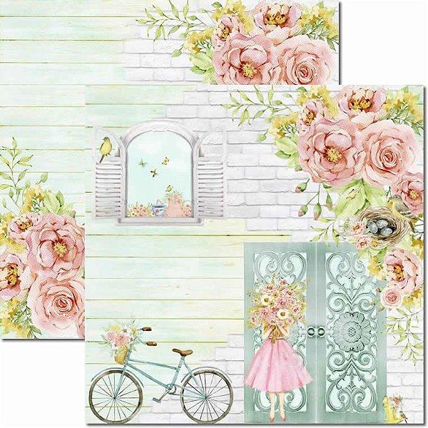 Papel Para Scrapbook Dupla Face 30,5x30,5 cm Arte Fácil - SC-634 - Brisa