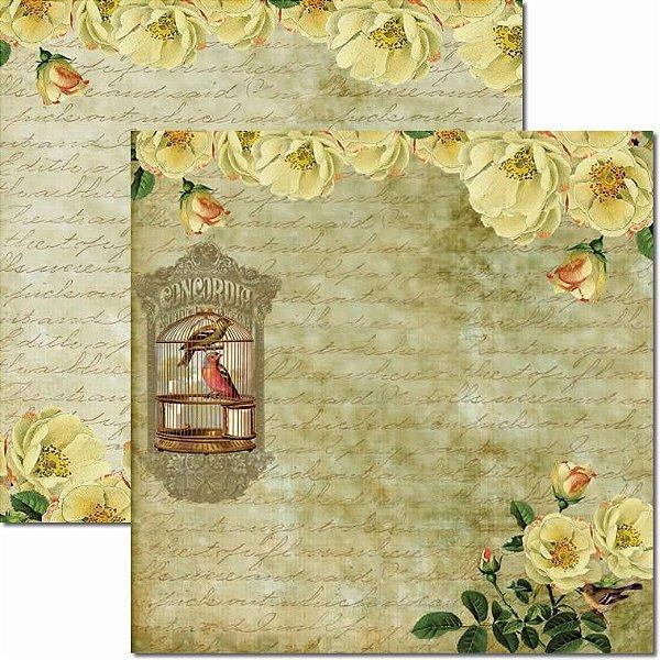 Papel Para Scrapbook Dupla Face 30,5x30,5 cm Arte Fácil - SC-251 - Gaiola e Flores 2