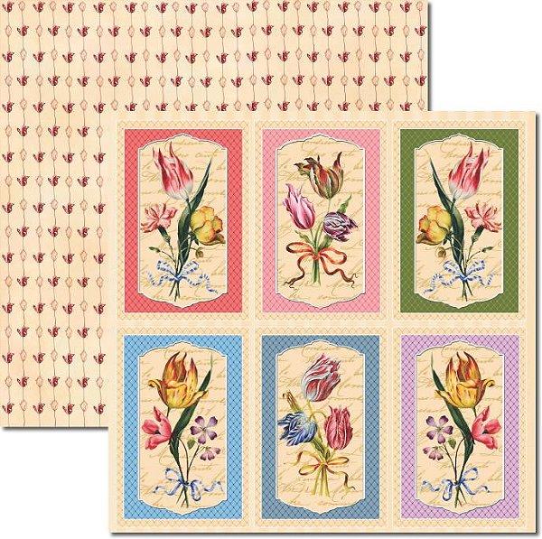 Papel Para Scrapbook Dupla Face 30,5x30,5 cm Arte Fácil - SC-374 - Tulipas 2