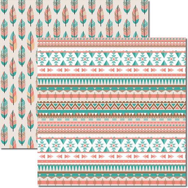 Papel Para Scrapbook Dupla Face 30,5x30,5 cm Arte Fácil - SC-361 - Tribal 7