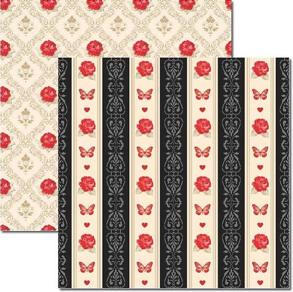 Papel Para Scrapbook Dupla Face 30,5x30,5 cm Arte Fácil - SC-316 Butterfly 2