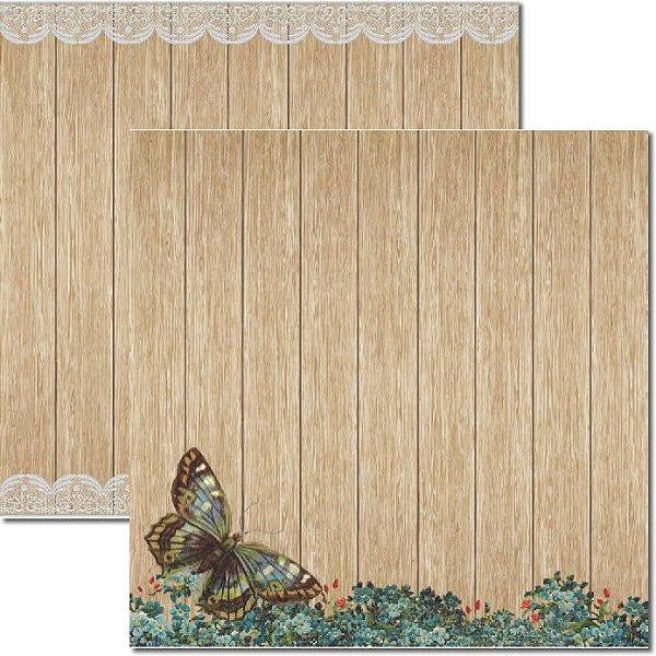 Papel Para Scrapbook Dupla Face 30,5x30,5 cm Arte Fácil - SC-187 Madeira