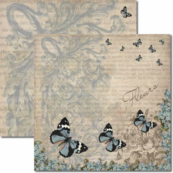 Papel Para Scrapbook Dupla Face 30,5x30,5 cm Arte Fácil - SC-136 Borboletas 3