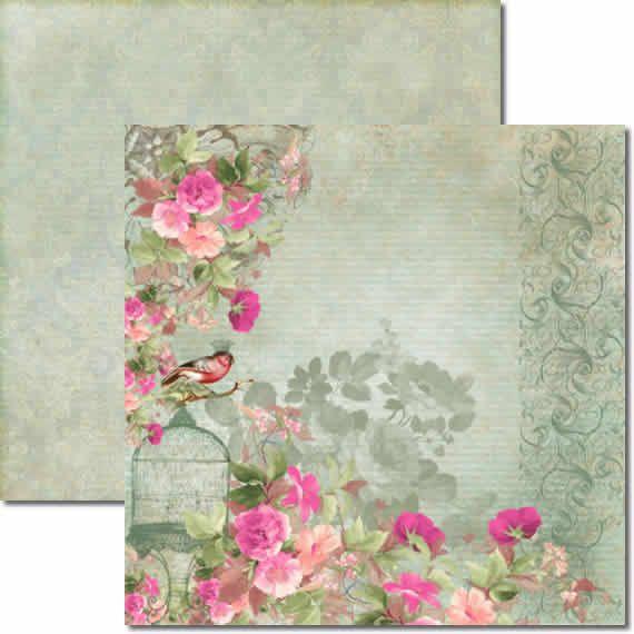 Papel Para Scrapbook Dupla Face 30,5x30,5 cm Arte Fácil - SC-038 Flores e Pássaros