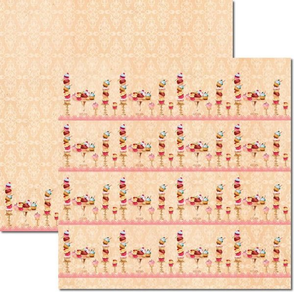 Papel Para Scrapbook Dupla Face 30,5x30,5 cm Arte Fácil - SC-238 Cupcakes Creme