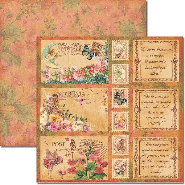 Papel Para Scrapbook Dupla Face 30,5x30,5 cm Arte Fácil - SC-202 Post Card
