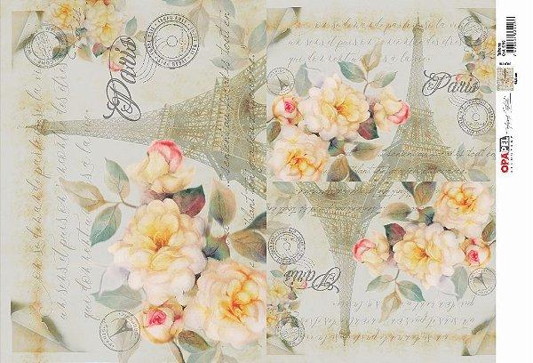 Papel Decoupage 30x45 cm OPAPEL 2524 - Flor Rosa Paris
