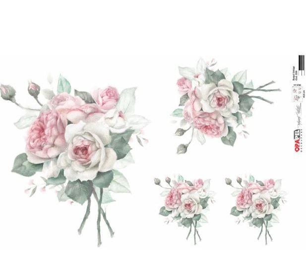 Papel Decoupage 30x45 cm OPAPEL 2559 - Buquê Rosa Vintage
