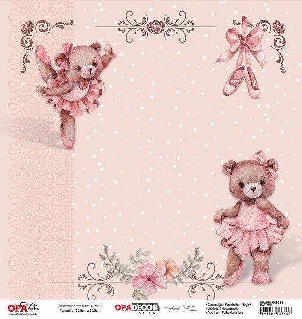 Papel Para Scrapbook Opadecor 30,5x30,5 - Infantil Ursos 2 2798