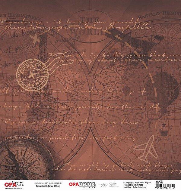 Papel Para Scrapbook Opadecor 30,5x30,5 - Viagem 2797