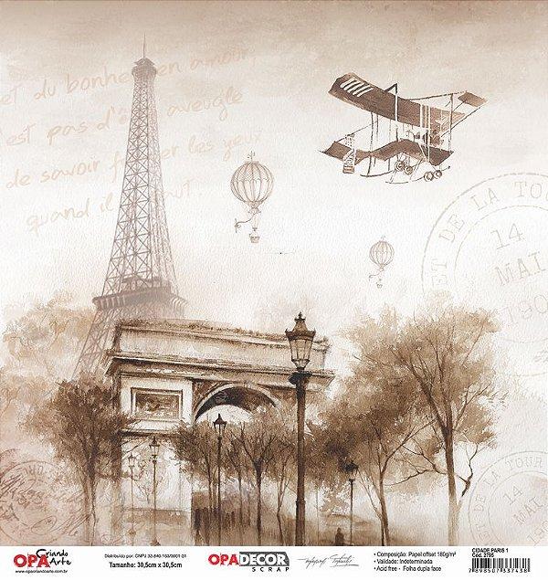 Papel Para Scrapbook Opadecor 30,5x30,5 - Cidade Paris 1 2795