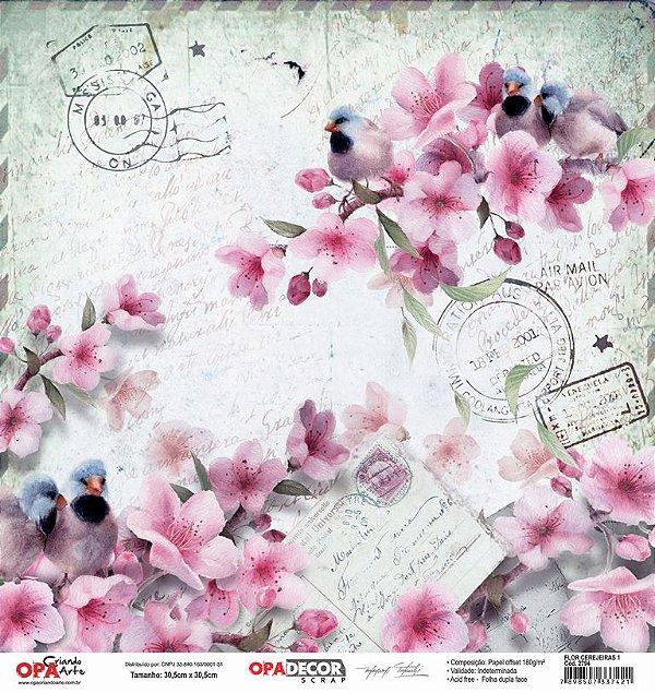 Papel Para Scrapbook Opadecor 30,5x30,5 - Flor Cerejeiras 1 2794