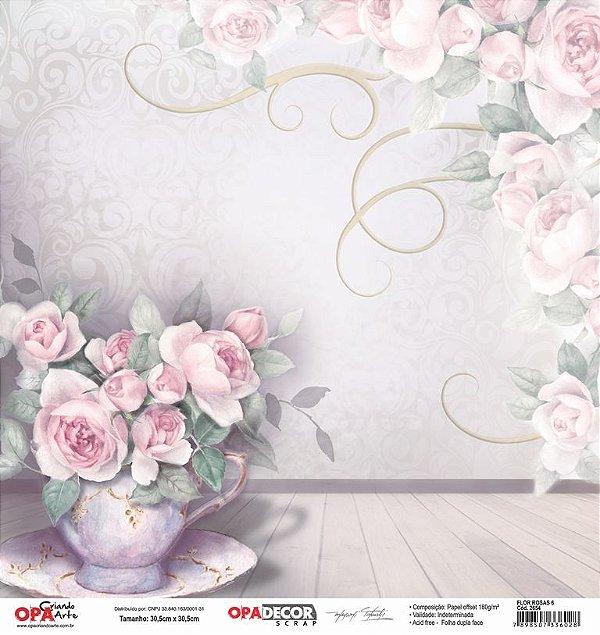 Papel Para Scrapbook Opadecor 30,5x30,5 - Flor Rosas 6 2654