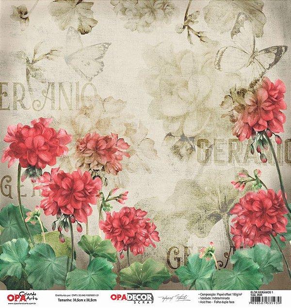 Papel Para Scrapbook Opadecor 30,5x30,5 - Flor Gerânios 1 2645
