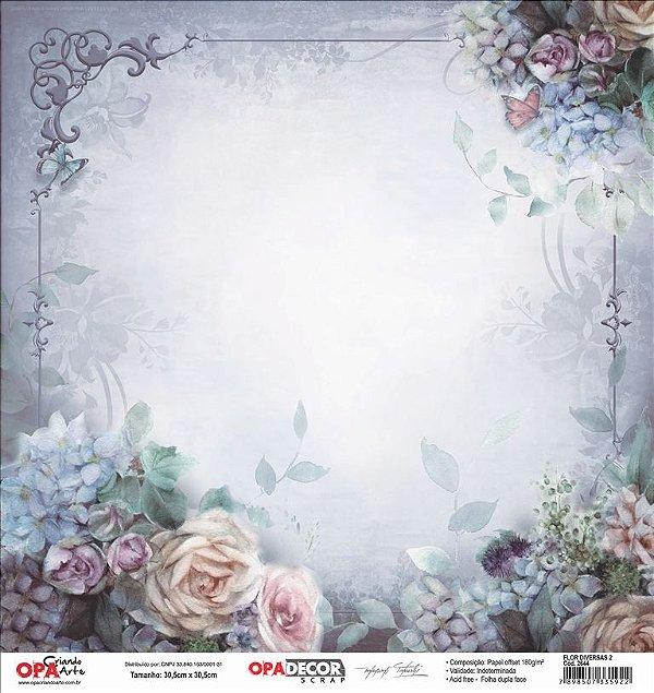 Papel Para Scrapbook Opadecor 30,5x30,5 - Flor Diversas 2 2644