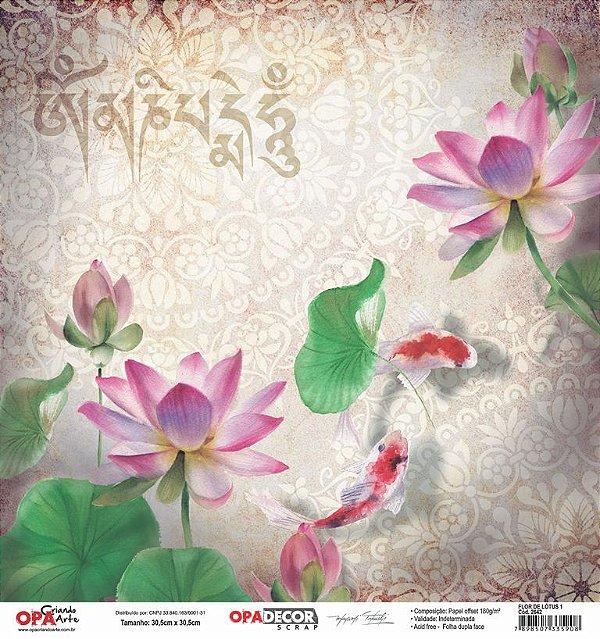 Papel Para Scrapbook Opadecor 30,5x30,5 - Flor de Lótus 1 2642