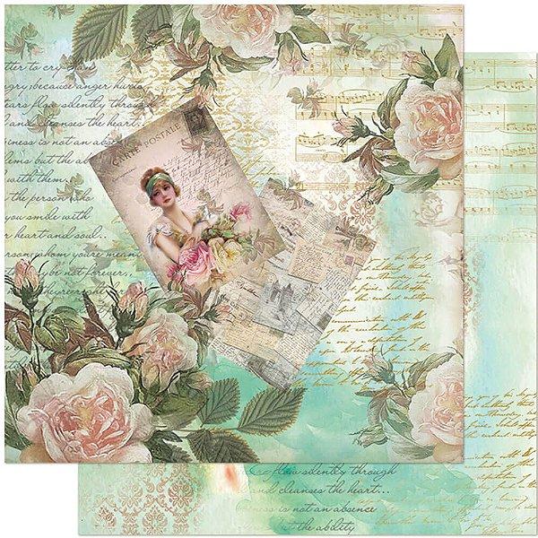 Papel Para Scrapbook 30,5 Cm X 30,5 Cm - DAMA E ROSAS VINTAGE SD-953