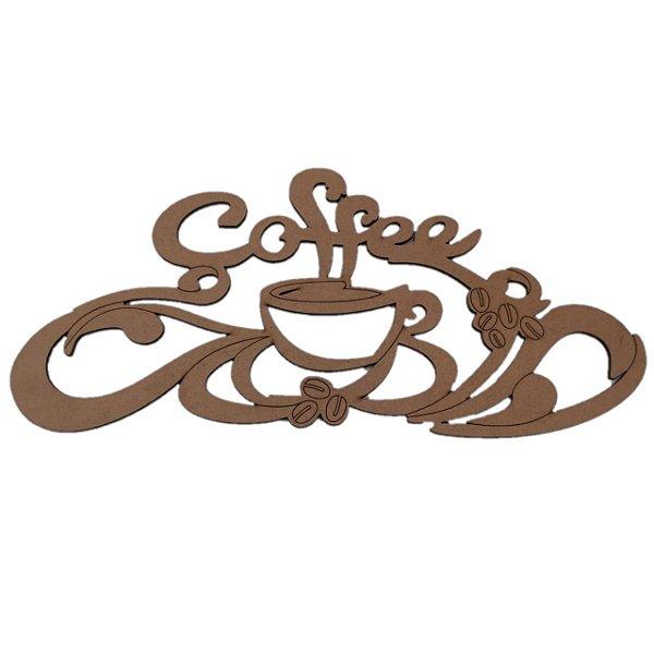 Aplique Laser MDF - Coffee E Xicara Com Arabesco - 30cm