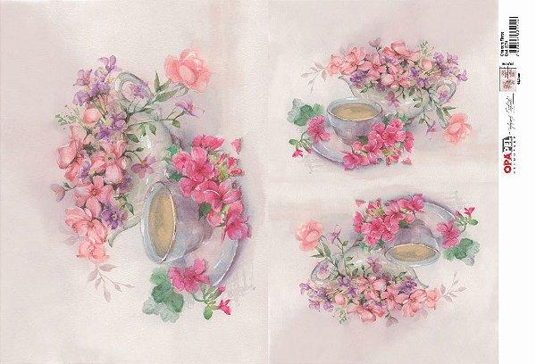 Papel Decoupage 30x45 cm OPAPEL 2374 - Chá Com Flores