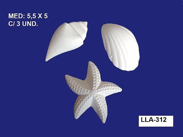Aplique em Resina Kit Mar 3 Peças 5x5,5 cm - LLA 312