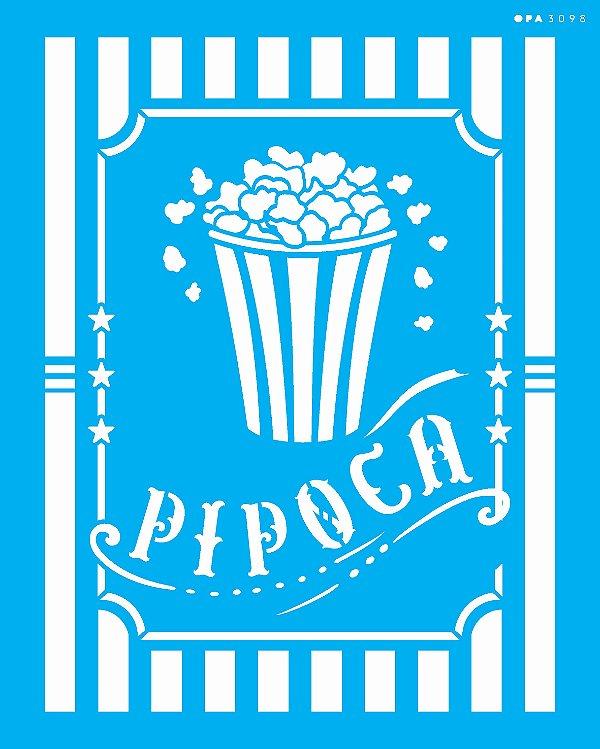 Stencil 20x25 Culinária Pipoca - OPA 3098