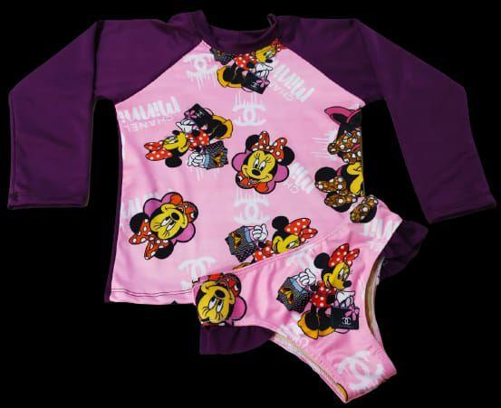Kit Praia Menina Infantil Blusa Uv+ Calcinha Fator 50 - Minnie 1