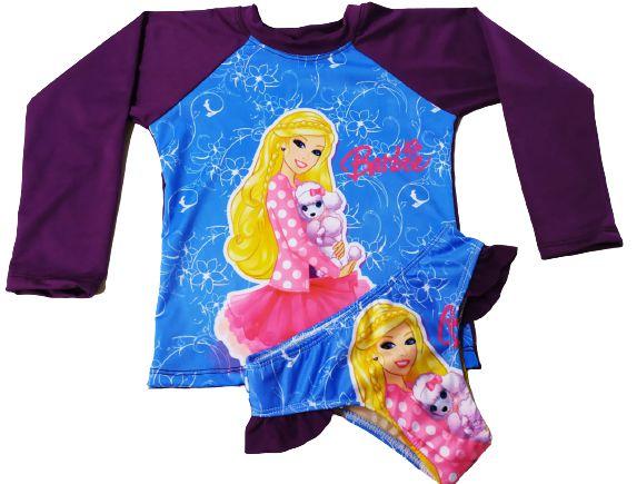 Kit Praia Menina Infantil Blusa Uv+ Calcinha Fator 50 - Barbie