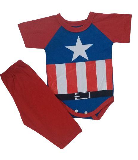 Conjunto Body com Calça Personagens - Capitão América