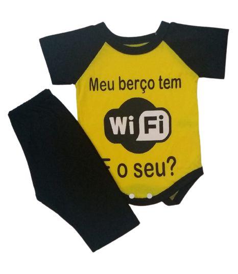 Conjunto Body com Calça Personagens - Meu Berço tem Wi-fi