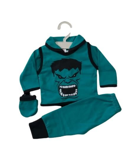 Conjunto Pagão Bebê recém nascido com 4 peças - Hulk
