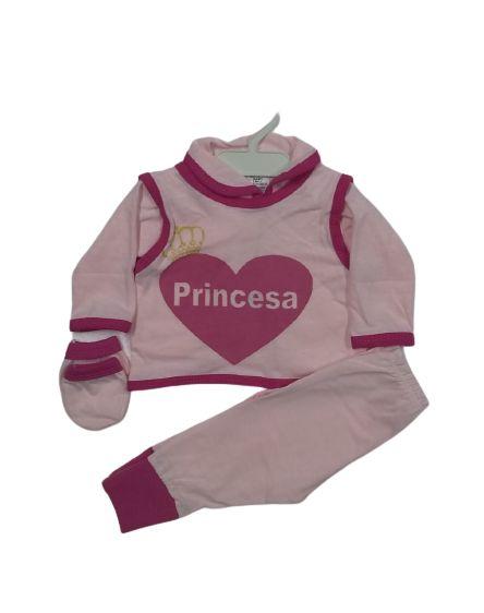 Conjunto Pagão Bebê recém nascido com 4 peças  - Princesa