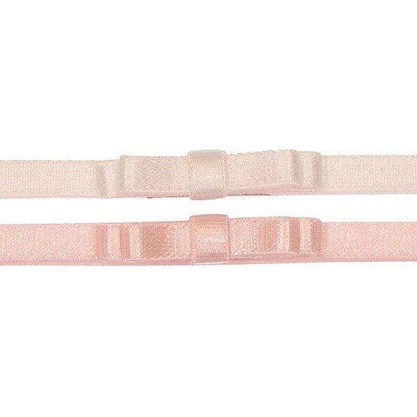 AFX018-01 - Faixa Laço Simple Doppio Acetinado Kit 2 - Branco Rosa
