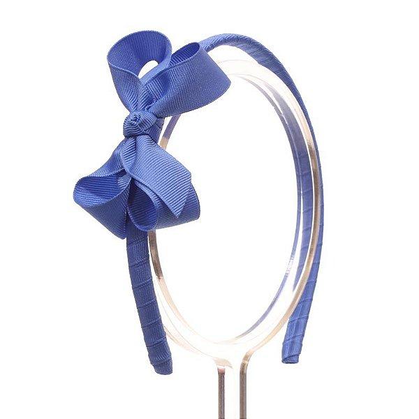 ATX001-26 - Tiara Laço Classic M Gorgurão - Azul Capri