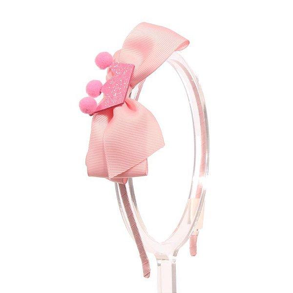 ADF408-05 - Tiara Laço G Desenhos Variados - Rosa Coroa
