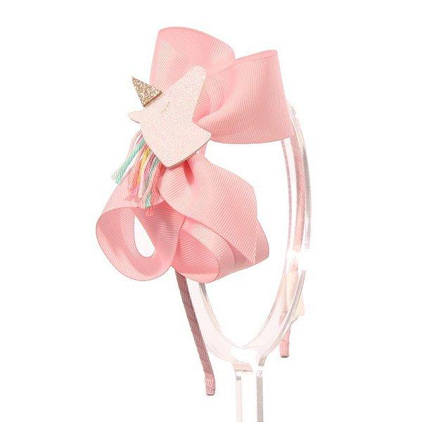 ADF408-09 - Tiara Laço G Desenhos Variados - Rosa Unicórnio