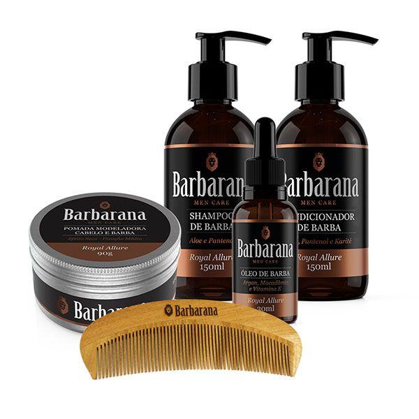KIt Shampoo + Condicionador + Óleo + Pomada Cabelo + Pente de Madeira