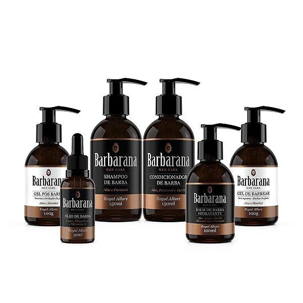 Kit Shampoo + Condicionador + Balm Hidratante + Óleo + Gel de Barbear + Gel Pós Barba