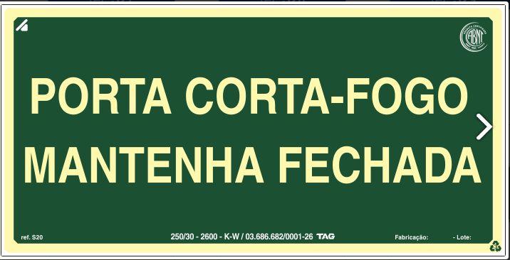 Placa Sinalização PORTA CORTA FOGO ABNT