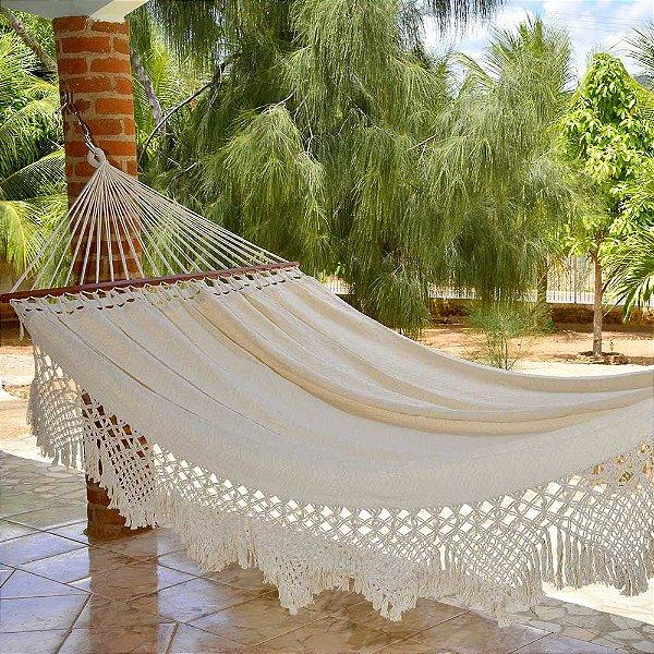 Rede Para Dormir Casal Tambaba Crua com Madeira