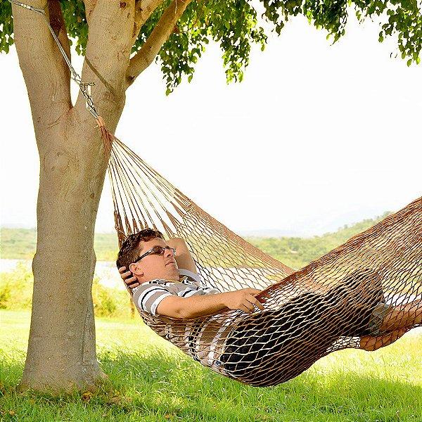 Rede de Dormir e descanso Camping Nylon Impermeável Tarrafa Marrom