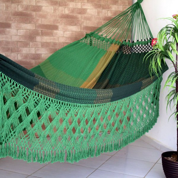 Rede de Dormir Casal Ostra Especial Verde Mesclada