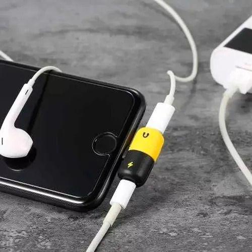 Adaptador iphone + carregador + fone de ouvido