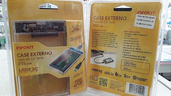 "Infokit Ecase-320 Case Transparente Para Hd Sata 2.5"" Hhd Ou Ssd Usb 3.0 Original Transmissao 5 Gpbs"