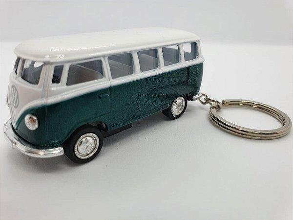 Chaveiro Kombi 1962 em Metal com Pneus de Borracha - 8cm - Verde e Branco