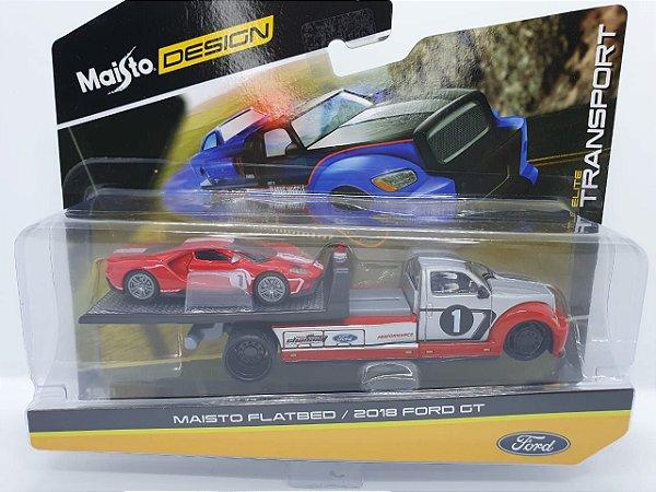Maisto Flatbed + Ford GT 2018 - Escala 1/64 - Maisto Elite Transport