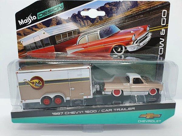 Chevy 1500 1987 + Car Trailer - Escala 1/64 - Maisto Tow & Go