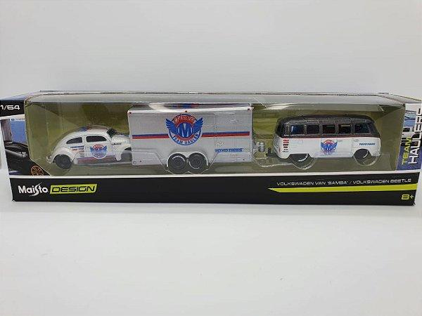 Kit Maisto Desing - Volkswagen Van Samba e Volkswagen Beetle com Trailer - Escala 1/64