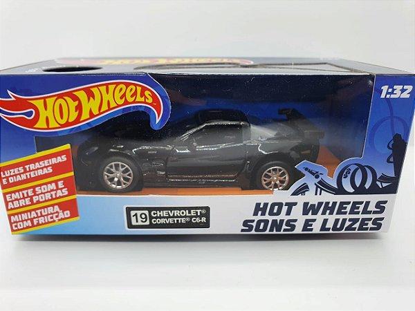 Miniatura Chevrolet Corvette C6-R Preto - Hot Wheels - Escala 1/32 C/ Luz e Som