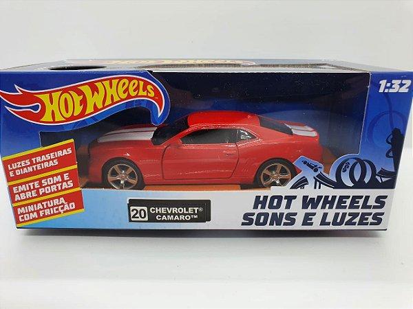Miniatura Chevrolet Camaro Vermelho - Hot Wheels - Escala 1/32 C/ Luz e Som