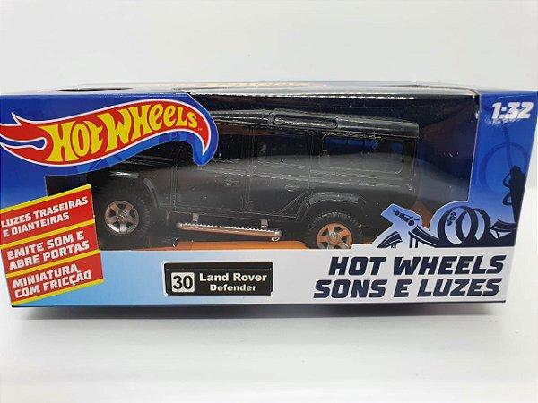 Miniatura Land Rover Defender Preta - Hot Wheels - Escala 1/32 C/ Luz e Som